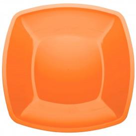 Plastikteller Flach Orange Square PS 300mm (12  Stück)