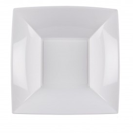 Plastikteller Tiefe Quadratisch Silber 180mm (25 Stück)