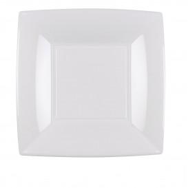 Plastikteller Flach Quadratisch Silber 180mm (25 Stück)