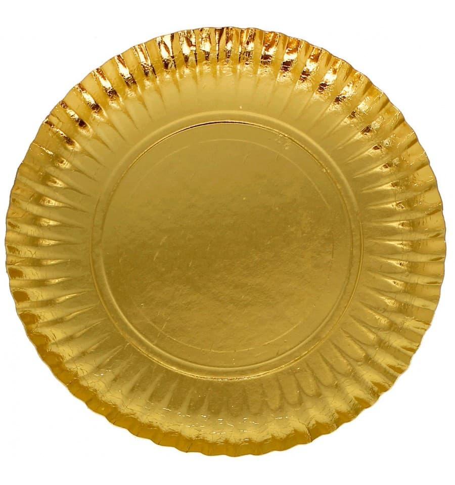 Pappteller rund gold 230mm 100 st ck for Pappteller gold