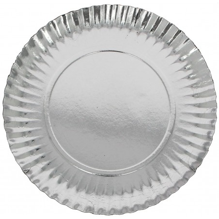 Pappteller Rund Silber 230mm (100 Einh.)