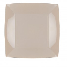 Plastikteller Flach Quadratisch Silber 230mm(25 Stück)