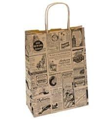 Papiertüten Kraft Zeitung mit Griff 20+10x29cm (50 Stück)