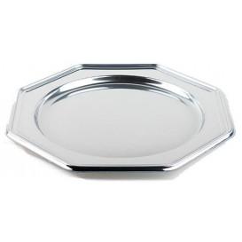 Platzteller achteckig Silber 30cm (50 Stück)