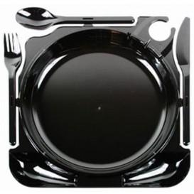 Caterplate Schwarz Teller und Besteck (12 Stück)
