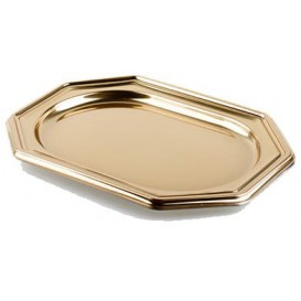 Plastiktablett achteckig Gold 36x24cm (5 Stück)