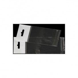 Flachbeutel BOPP Falte Klebstoff mit Euro-Loch 8,5x14cm G160 (100 Stück)