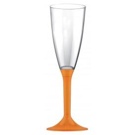 Sektflöte Plastik mit orangem Fuß 120ml (20 Stück)