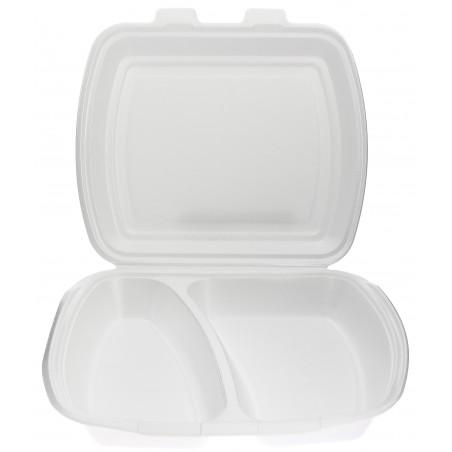 Verpackung Menübox FOAM weiß 2-geteilt  (100 Einh.)