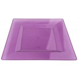 Viereckiger Plastikteller extra hart Aubergine 20x20cm (4 Stück)