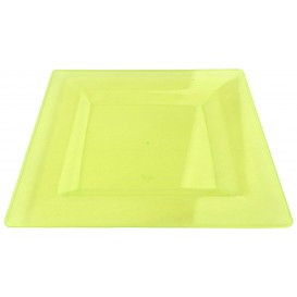 Viereckiger Plastikteller extra hart Grün 20x20cm (4 Stück)