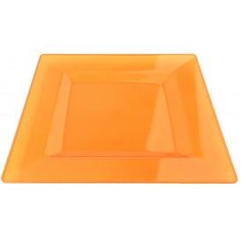 Viereckiger Plastikteller extra hart Orange 20x20cm (4 Stück)