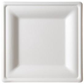 Quadratischer Teller Zuckerrohr Weiß 16x16cm (50 Stück)