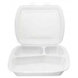 Verpackung Menübox Styropor weiß 3-geteilt  (125 Stück)