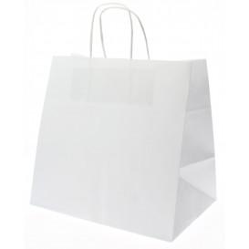 Papiertüten Kraft weiß mit Henkeln 26+17x24cm (50 Stück)