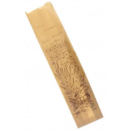 Papiertüten kraft 12+9x50cm bedruckt (100 Einh.)
