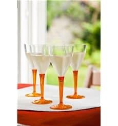 Weinglas mit orangenem Fuß einteilig 130ml zweiteilig (60 Stück)