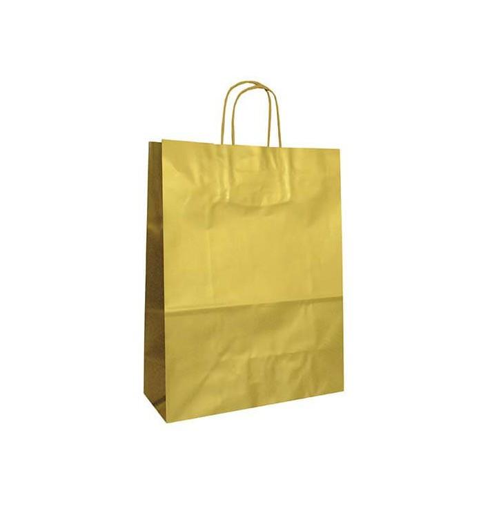 Papiertüten Kraft gold mit Griff 32+12x41cm (200 Stück)