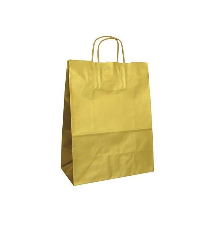 Papiertüten Kraft gold mit Griff 24+12x31cm (250 Stück)