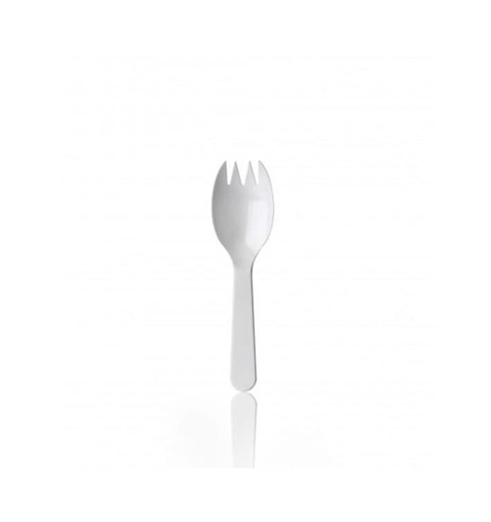 """Plastikgabel """"SPORK"""" weiß 98mm (100 Stück)"""