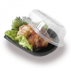 Plastikbehälter für Hähnchen mit Deckel (100 Stück)