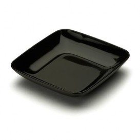 Plastikteller Präsentation schwarz 6x6x1cm (200 Stück)