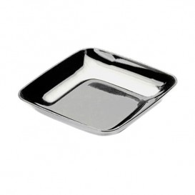 Plastikteller Präsentation silber 6x6x1cm (50 Stück)