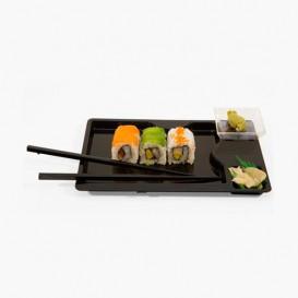 Sushi Teller mit Stäbchen schwarz 260x160mm (12 Stück)