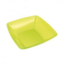 Viereckige Plastikschale grün 14x14cm (60 Stück)