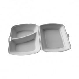Verpackung Menübox Styropor weiß 2-geteilt  (50 Stück)