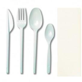Besteckset Gabel, Messer, Löffel, kleiner Löffel und Serviette weiß (500 Stück)