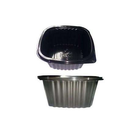 Envase Plastico Cuadrado PP 500ml Negro (500Uds)