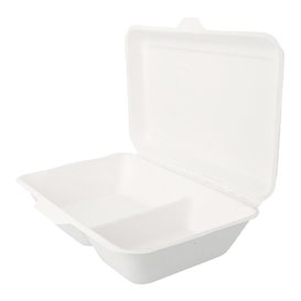 Menübox Zuckerrohr 2-Geteilt Weiß 225x165x64mm (50 Stück)
