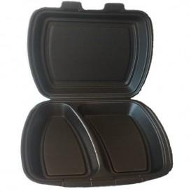 Verpackung Menübox Styropor Schwarz 2-geteilt  (250 Stück)