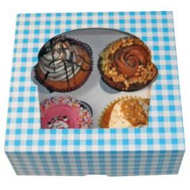 Cupcake Box für 4 Cupcakes 17,3x16,5x7,5cm blau (20 Stück)