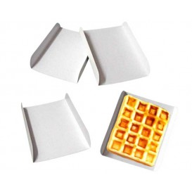 Pappschale weiß für Waffeln 15x13x2 cm (25 Stück)