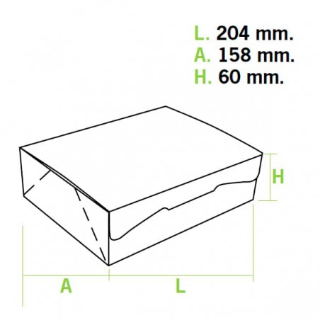 Gebäck-karton weiß 20,4x15,8x6cm (5 Einh.)