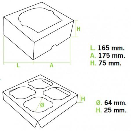 Cupcake Box für 4-Cupcake 17,3x16,5x7,5cm pink (140 Einh.)