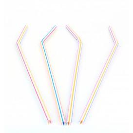 Trinkhalme flexibel farbig sortiert Ø5mm 23cm (50 Einheiten)