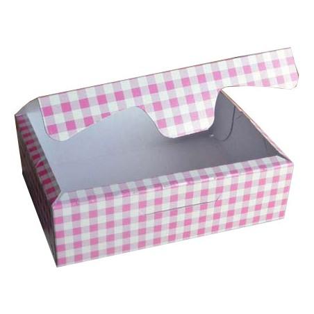 Caja para Pasteleria Carton 18,2x13,6x5,2cm 500g.  Rosa (250 Uds