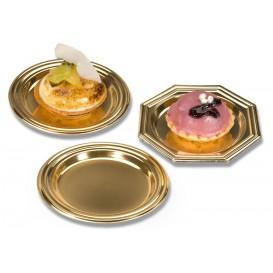 Kleiner Plastik Teller Dessert achteckig gold 8cm (125 Einh.)