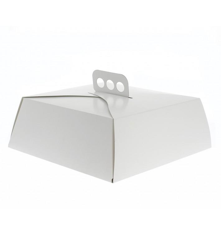 Pappkarton für viereckig Kuchen weiß 24x24x10cm (50 Einh.)