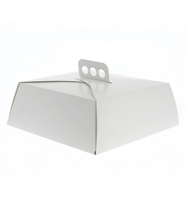 Tortenkarton quadratisch weiß 27,5x27,5x10 cm (50 Stück)