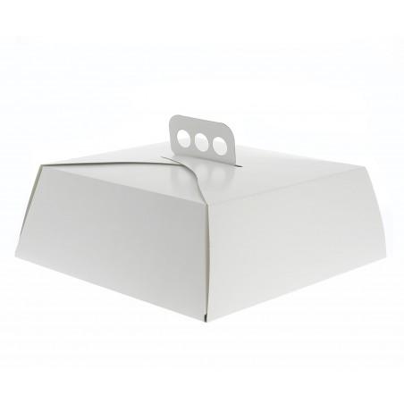 Pappkarton für viereckig Kuchen weiß 27x27x10cm (50 Einh.)