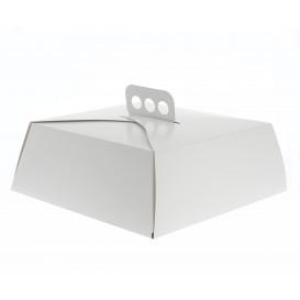 Pappkarton für viereckig Kuchen weiß 24x24x10cm (5 Einh.)