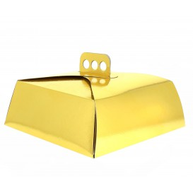 Pappkarton für viereckig Kuchen gold 24x24x10cm (50 Einh.)