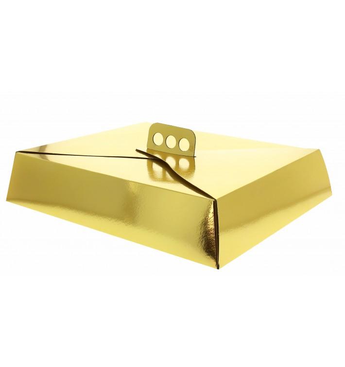 Pappkarton für viereckig Kuchen gold 26,5x35,5x8cm (50 Einh.)