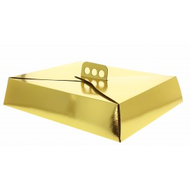 Pappkarton für viereckig Kuchen gold 32,5x39,5x8cm (50 Einh.)