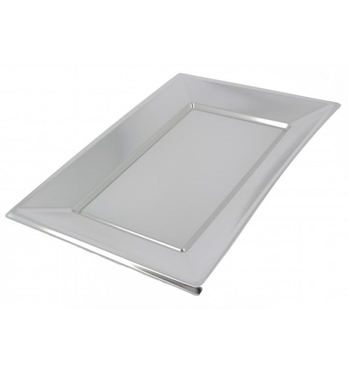 Plastiktablett Silber 330x230mm (2 Stück)