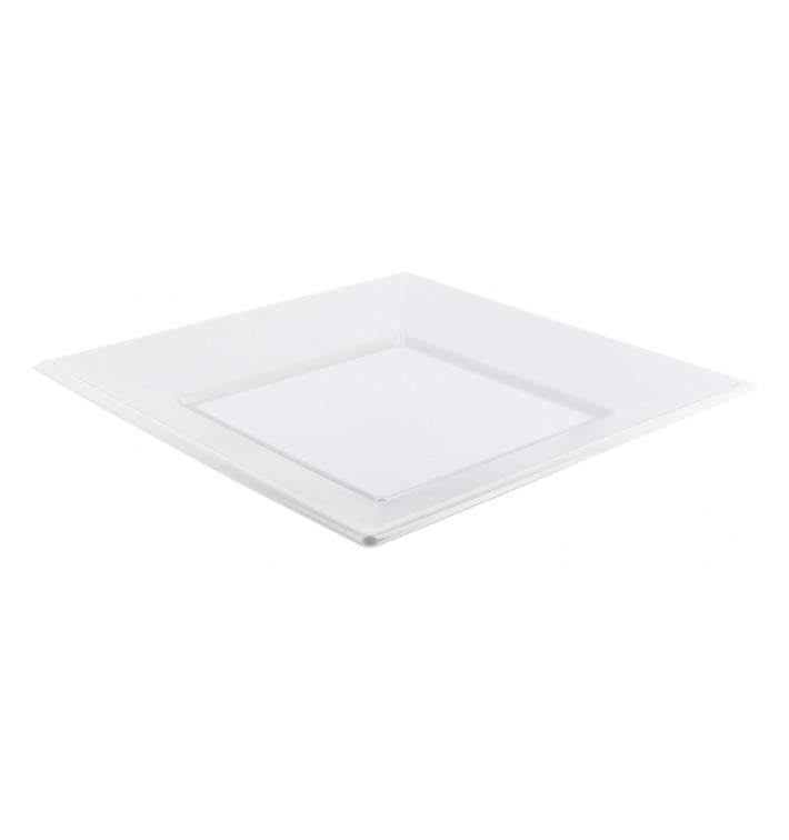 Viereckiger Plastikteller Flach weiß 230mm (750 Stück)